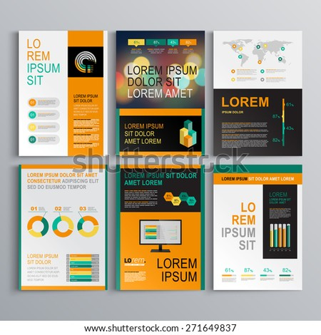 Green business brochure template design with orange shapes. Cover layout and infographics - stock vector