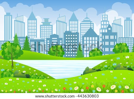 Green business City Landscape with tree lake and flowers. vector illustration in flat design - stock vector