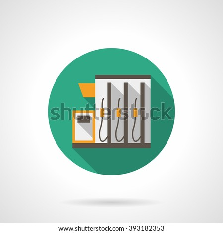 Green button with gasoline pump on gas station. Petroleum industry. Vehicles filling. Flat color round style vector icon. Web design element for site, mobile and business. - stock vector