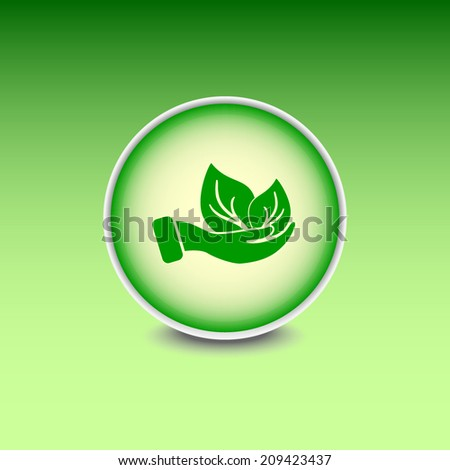 Green button with shadow. Vector icon  - stock vector