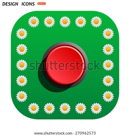 Green button with white daisies for mobile applications. Red button start, stop. icon. vector design - stock vector