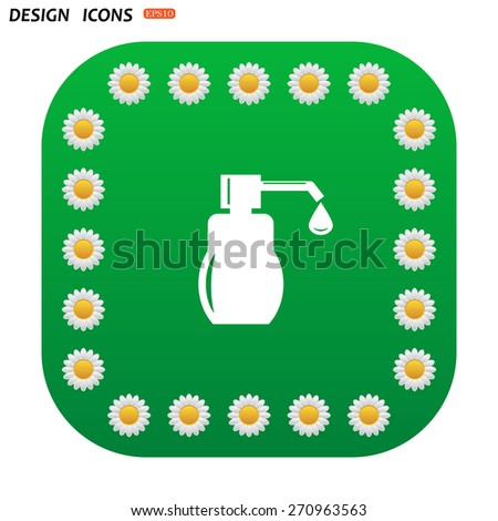Green button with white daisies for mobile applications. Shower Gel, Liquid Soap, Lotion, Cream, Shampoo, Bath Foam. icon. vector design - stock vector