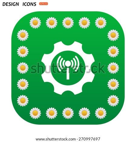 Green button with white daisies for mobile applications. Toothed setting controls via wi-fi network. icon. vector design - stock vector