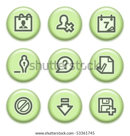 Green buttons with icons 2 - stock vector