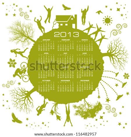 Green Calendar for 2013 - stock vector