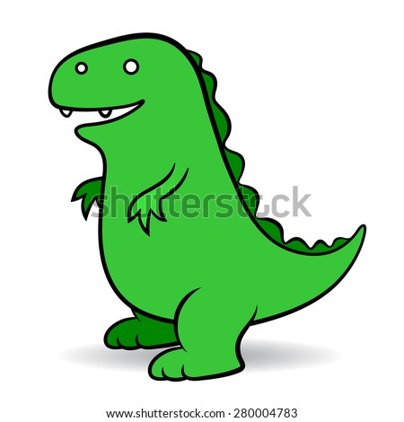 Green cartoon a fictional giant monster portrayed as an amphibious reptile resembling a dinosaur, simple vector comic illustration suitable for kids on white - stock vector