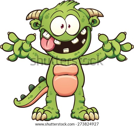 Green cartoon monster. Vector clip art illustration with simple gradients.Mouth and body parts on separate layers. - stock vector