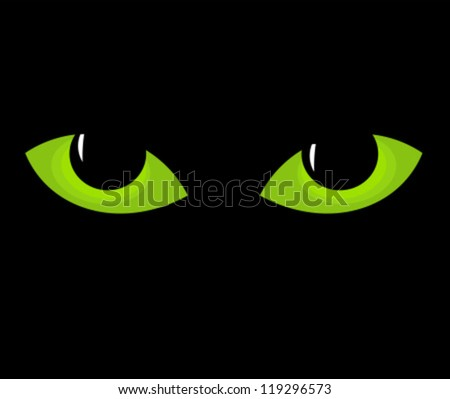 Green cat eyes in darkness. Vector illustration - stock vector