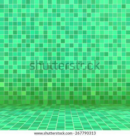 Green ceramic tile mosaic in swimming pool - stock vector
