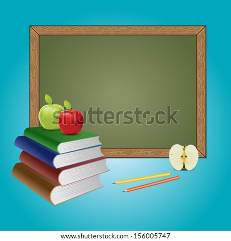 Green chalkboard, books and apples on blue background. - stock vector