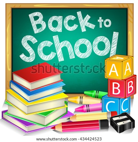 Green Chalkboard with Back to School Text and School Items Isolated in White Background. Vector Illustration  - stock vector