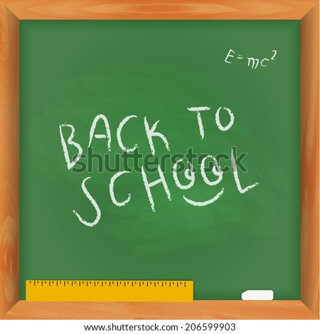 "Green chalkboard with lettering ""Back to school"".Vector - stock vector"