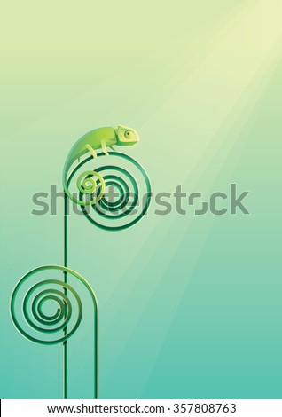 Green Chameleon lizard sunbathing camouflaged on a green abstract spiral curved plant on a rain forest sun rays. Minimalistic modern vector illustration - stock vector