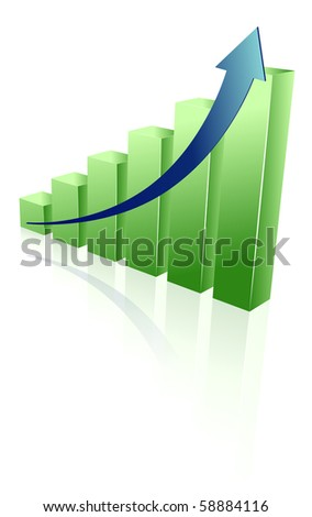 green chart reflected isolated on white background - stock vector