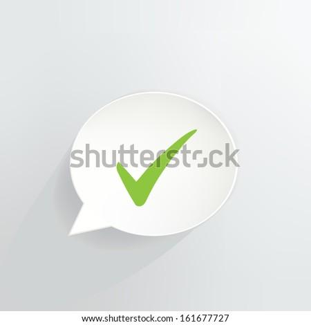 Green Check Mark Speech Bubble - stock vector