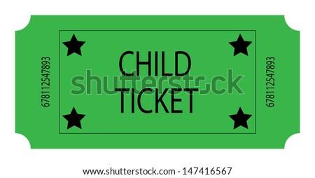 Green Child Ticket. Vector - stock vector