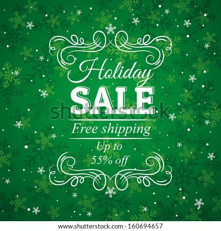 green christmas background and label with sale offer, vector illustration - stock vector