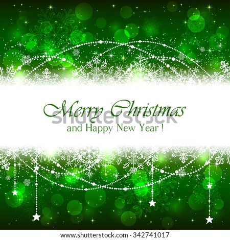 Green Christmas background with snowflakes, beads and stars, illustration. - stock vector