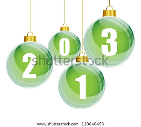 Green christmas balls with the numbers of new year 2013 hanging - stock vector