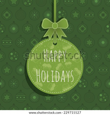 green christmas bauble background with hanging christmas decoration and text - stock vector