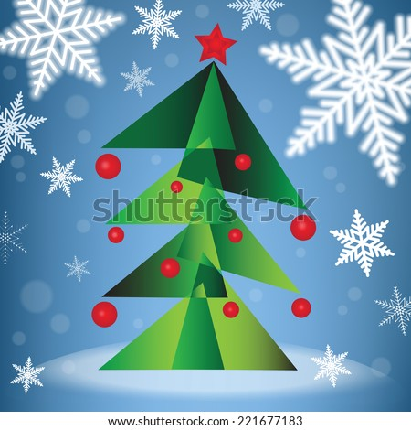 Green Christmas fir tree in the forest under the snowfall. Vector illustration. - stock vector