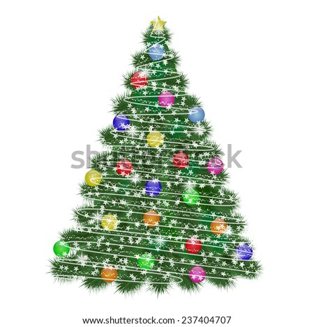 Green Christmas tree decorated with lights and balls - vector illustration - stock vector