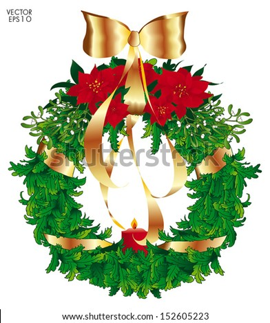 Green Christmas wreath on the top, Poinsettias red and green foliage surrounded from mistletoe, hanging up with a large gold bow and ribbon. A red lighted candle is standing on the bottom. Isolated. - stock vector
