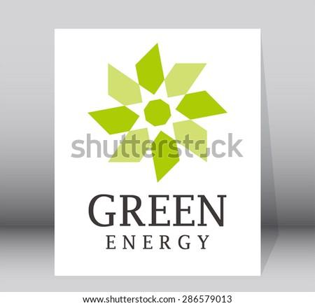 Green circle eco energy logo element vector design shape symbol icon abstract  - stock vector