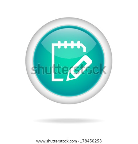 green circle glossy web icon of notes  on white background - stock vector