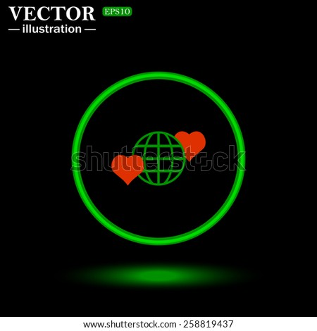 Green circle on a black background with illumination.  Icon planet and two red hearts. Symbol of love between the nation. Globe.  vector illustration, EPS 10  - stock vector