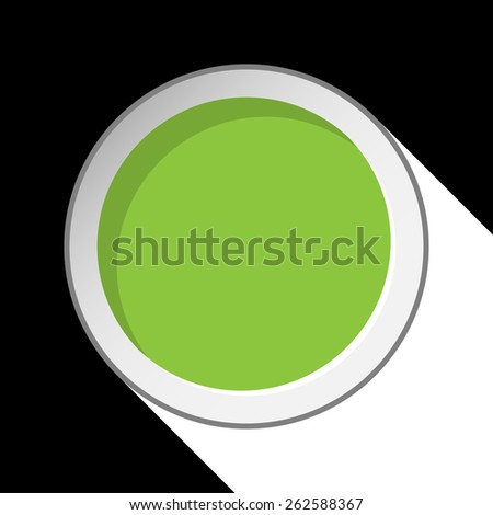 green circle with stylized shadow on a black background - stock vector