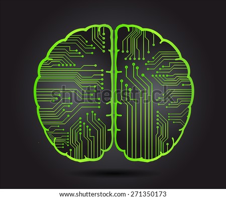 green circuit board brain. Abstract Technology background for computer graphic website internet and business. vector illustration. black background - stock vector
