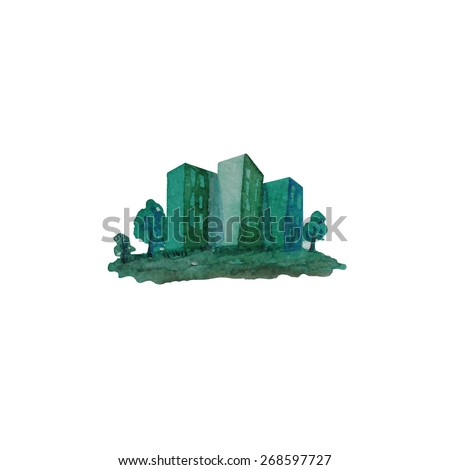 green city concept illustration - make with watercolor - stock vector