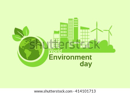 Green City Earth Planet Globe Silhouette Wind Turbine Solar Energy Panel World Environment Day Flat Vector Illustration - stock vector