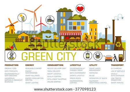 Green city flat design. Eco city illustration with different icons and eco symbols. Green city infographic - stock vector