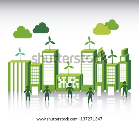 green city over white background. vector illustration - stock vector