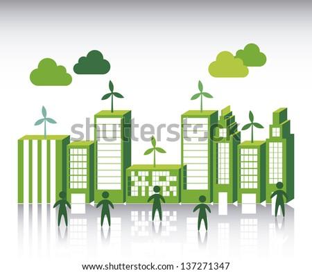 green city over white background. vector illustration - stock vector