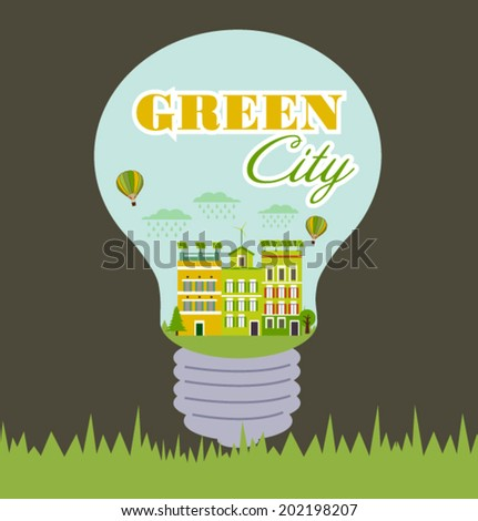 Green city. Save the earth - stock vector