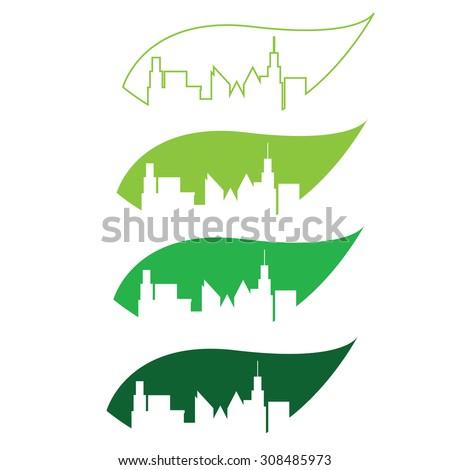 green city silhouette - stock vector