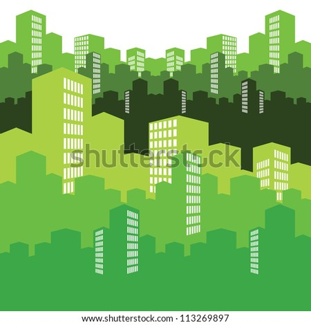 green city, vector illustration, background - stock vector