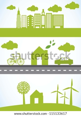 green city with car and bike, ecology. vector illustration - stock vector