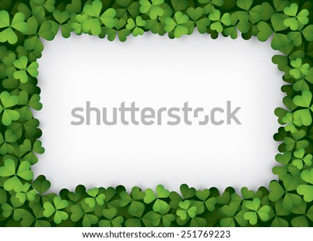 Green clover border - stock vector