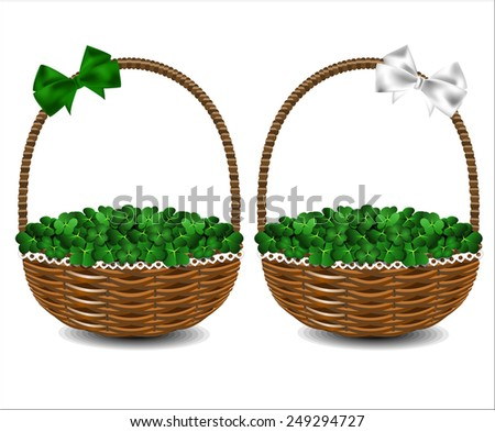 Green clover in a beautiful wicker basket. St. Patrick's Day. - stock vector
