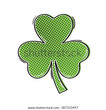 green clover shamrock in comic style as a symbol of st. Patrics day and luck - stock vector