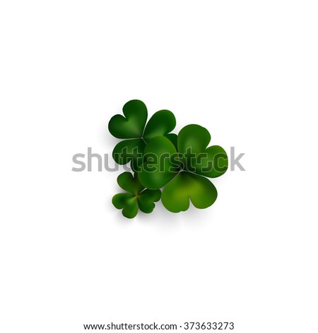 Green clovers on white with shadow, decoration for greeting cards. St Patrick's day vector design. - stock vector