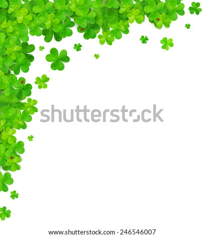Green clovers vector corner frame element - stock vector