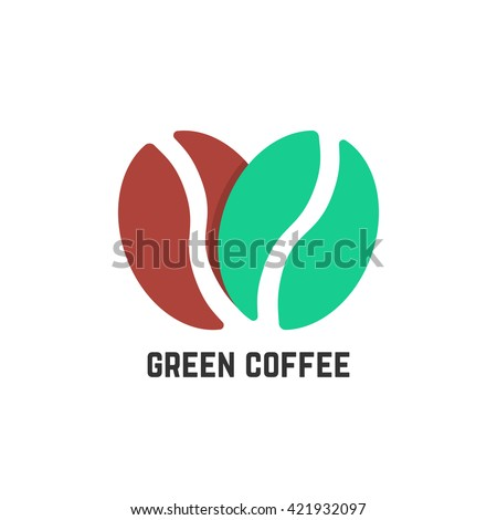 green coffee logo like beans. concept of stylized coffeehouse, mocha, energetic, americano, tasty, beverage. flat style trend modern logo design vector illustration on white background - stock vector