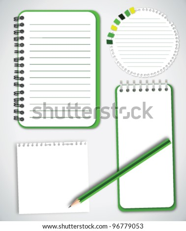 Green Collection Notebook Paper Vector - stock vector