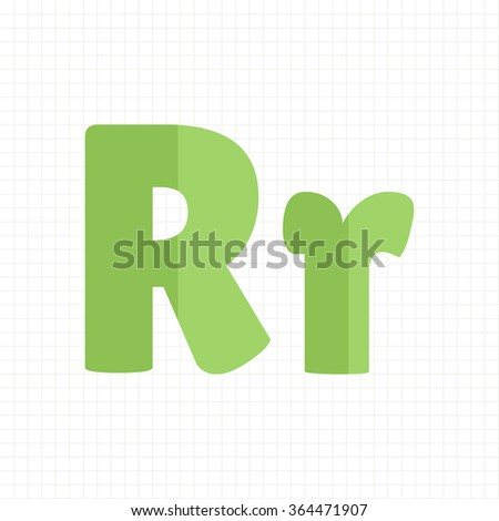 green color alphabet letters R - stock vector