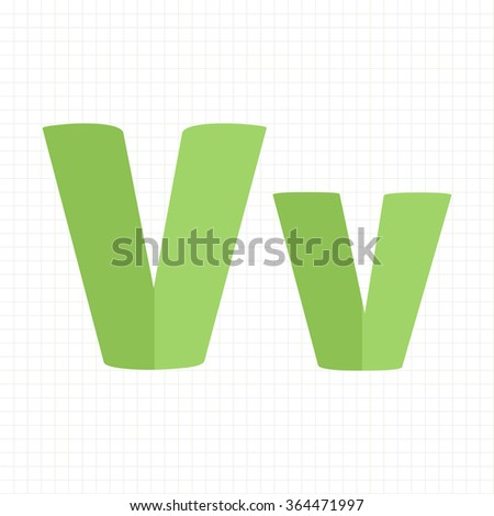 green color alphabet letters V - stock vector